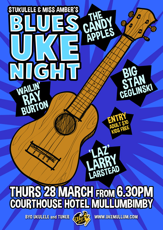 Uke Mullum presents The Candy Apples, Big Stan Cegkinski, Ray Burton and Larry Larstead for BLUES UKE NIGHT!
